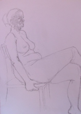 Woman sitting in a chair